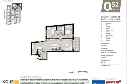 NEUBAU! 4-Zimmer Neubauwohnung mit Dachterrasse