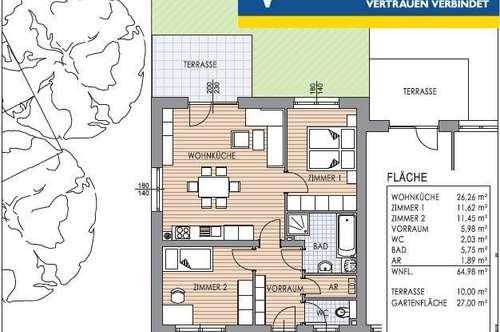 Mietwohnung 64m² mit Garten; Erstbezug