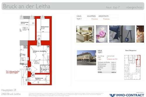 Geniale Wohnung am Hauptplatz mit Zimmer in den Hof & Loggia. Generalsaniertes Stadthaus, Top 7.
