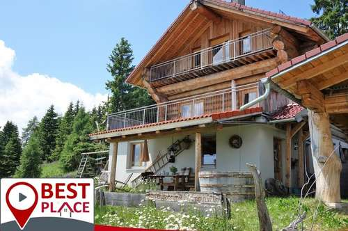 Hochrindl- hochwertiges Naturstammhaus mit eigener Ferienwohnung und traumhaften Ausblick