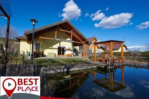 VERKAUFT-Hochwertiges 2 Familienhaus mit Schwimmteich und Wellnessoase