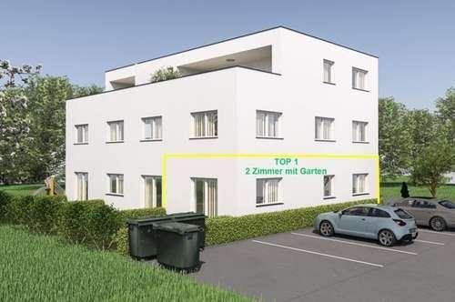 NEUBAU: 2 Zimmerwohnung mit ca. 46m² Wfl. und Gartenanteil in Gisingen! Top 1
