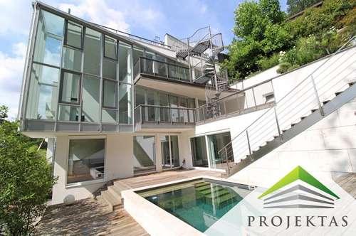 Spektakuläre Designer-Villa in absoluter stadtnaher Ruhelage! 360° Rundgang online!