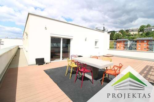 Residieren in der Oberklasse! Möbliertes Penthouse mit 139 m² Dachterrasse in Steyregg!   360° Rundgang online!