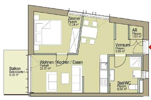 Neubau! Perfekte 2 Zimmerwohnung mit Balkon und TG-Stellplatz in St. Peter!