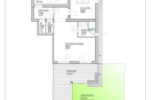 2 -Zimmer Neubauwohnung mit ca. 63m² großem Eigengarten/ Süd-Ausrichtung/ Straßgang/ provisionsfrei für den Käufer!