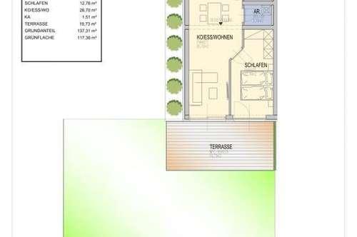 Anlegerwohnung/ 2 -Zimmer Neubauwohnung mit ca. 137 m² großem Süd- Eigengarten/ 2,3 Km von der FH Joanneum entfernt/ provisionsfrei für den Käufer!