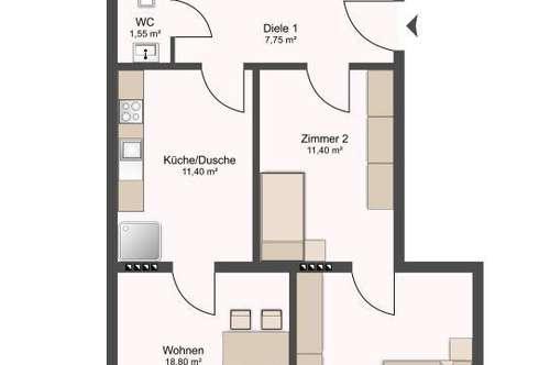 Günstige Wohnung mit großem Balkon zu verkaufen - Altmieterin !
