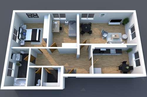 Perfekt für Familien - Wohnung in Gamlitz mit 3 Zimmer + Küche mit Essecke, Garten in 8462 Gamlitz / Leibnitz - Einkaufen, Kindergarten, Schule fußläufig