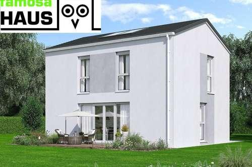 Neu: ziegelmassives Einfamilienhaus, vollunterkellert mit Terrasse, Sonnengarten und 2 Parkplätzen. Provisionsfrei!