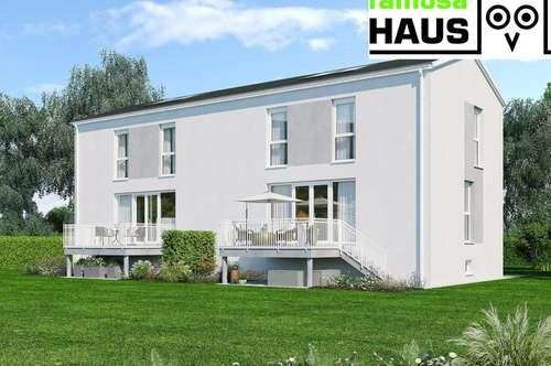 Vollunterkellerte Doppelhaushälfte mit 4 Zimmern, Sonnenterrasse, Eigengrund und 2 Parkplätzen. Provisionsfrei!