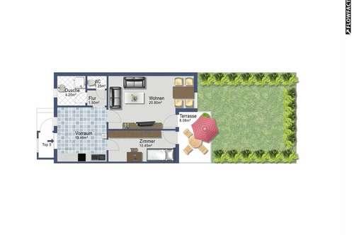 Gartensuite mit zwei Zimmern - provisionsfrei ab sofort - alles inklusive