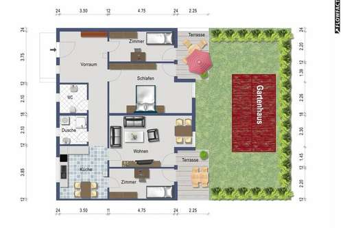 Vierzimmer Gartenwohnung - provisionsfrei ab 1. März 2019 (alles inklusive)
