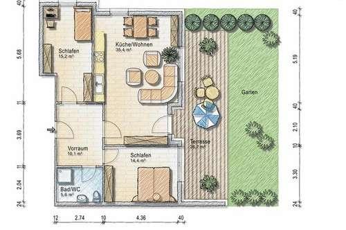 Dreizimmer Gartenwohnung - provisionsfrei - ab 1. März