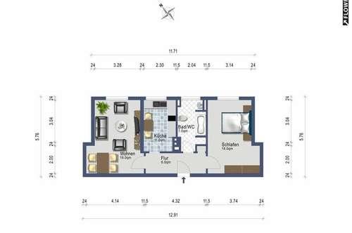 Zweizimmer mit Wohnküche - Erstbezug nach Renovierung - alles inklusive ab September 2019