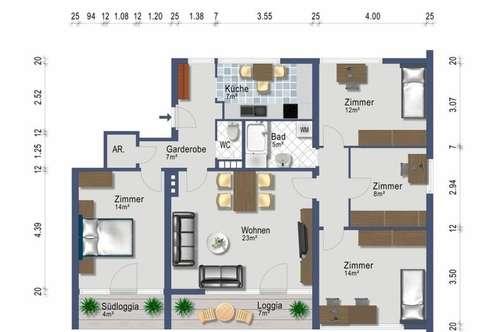 Südbalkon - 5 Zimmer - provisionsfrei und renoviert ab 1. Dezember