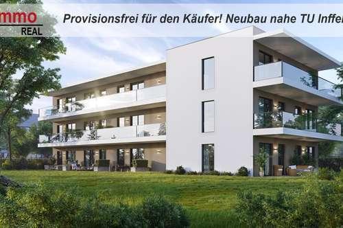 PROVISIONSFREI FÜR DEN KÄUFER! Neubau-2-Zimmer-Kleinwohnungen neben der TU Inffeld in Graz!