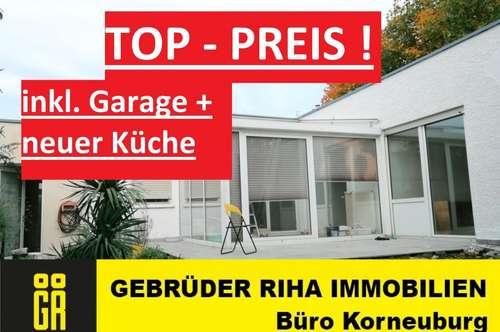 RUHELAGE - Wintergarten und UNEINSEHBARER Garten in ATRIUM-Haus - 3 Zimmer - Brandneue moderne EINBAUKÜCHE - GARAGE INKLUSIVE !