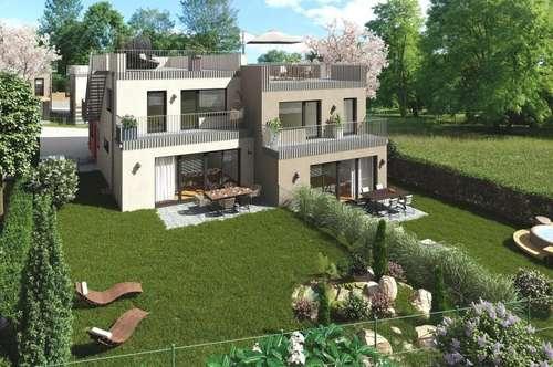 Architekten Doppelhaus mit Traumblick zum Husarentempel und großem Garten