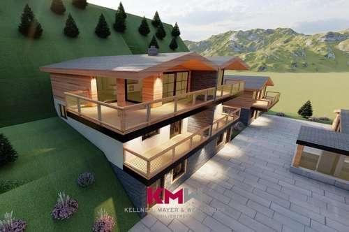 Nur mehr 1 verfügbar! Ankündigung! Projektiertes Neubau-Chalet, Doppelhaushälfte, mit Zweitwohnsitz-/Freizeitwohnsitzwidmung in sonniger Aussichtslage. Nähe Zell am See - Kaprun