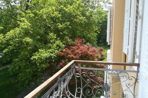 Ausblick in den Kurpark Garconniere+Balkon+Parkplatz nahe FH Joanneum