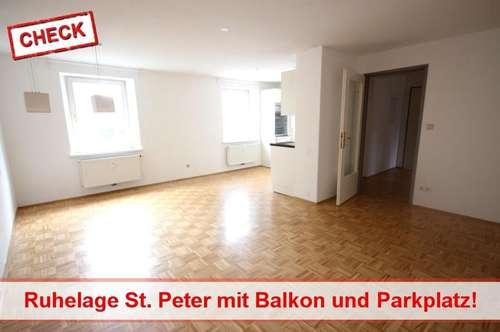 3 Zimmerwohnung mit Balkon und Parkplatz in Ruhelage St. Peter!