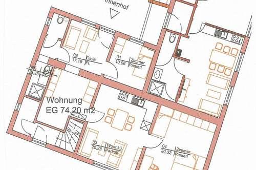 Miete inkl. Heizung um 660.- € 2 Zimmer +gr.Wohnküche