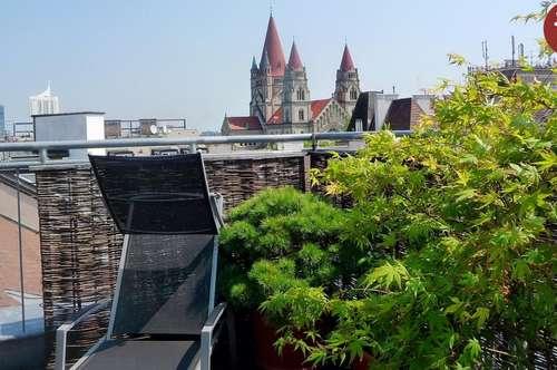 Top-gepflegte Dachgeschosswohnung mit herrlicher Terrasse Nähe UNO- City!
