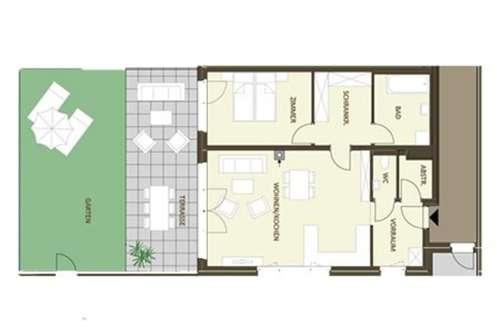 Idealer Grundriss - 2-Zimmer mit großer südseitiger Terrasse & Gärtchen