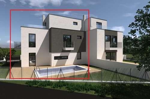 IHR WUNSCHGRUNDRISS!! 9 Räume + Nebenräume, 250 m² NFL Wohnkelleretage + Aussenflächen: Garten mit Terrasse, Swimmingpool, Dachterrasse, Stellplatz und 2 Balkone! Luftwärmepumpe f. Kühlen und Heizen