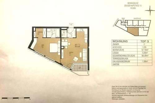 1190 - Ideal geschnittene 2 Zimmerwohnung mit Loggia