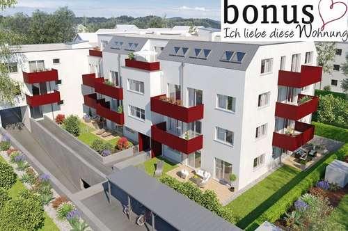 Perfekt für Zwei: geräumige 2-Zimmer Wohnung mit Terrasse, Eigengarten und Garagenplatz. Provisionsfrei!