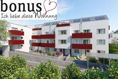 Wohnvergnügen für Drei: schlüsselfertige 3-Zimmer Wohnung mit Dachterrasse und Garagenplatz. Provisionsfrei!