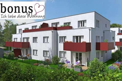 Perfekt für Drei: wohnbaugeförderte 3-Zimmer Wohnung mit Eigengarten, Terrasse und 2 Garagenplätzen. Provisionsfrei!