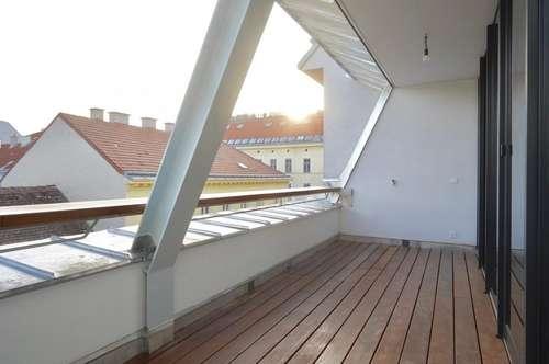 Avantgardistische Architekten-Dachgeschoss-Maisonette mit südseitiger Loggia und Terrasse nahe dem Kutschkermarkt