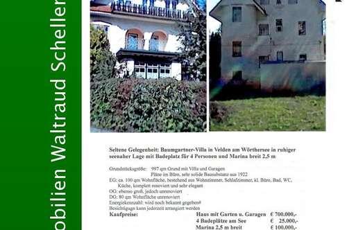 Baumgartner-Villa aus 1922 nebst Marina mit 2,5 m und Badeplatz für 4 Personen