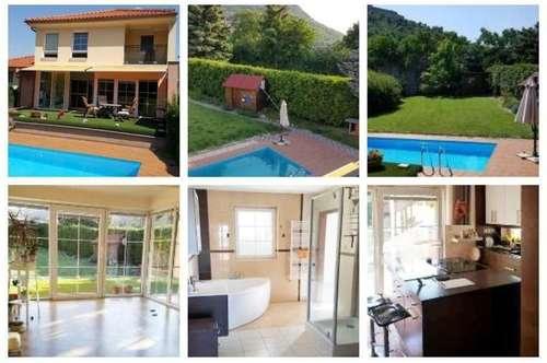 Bezirk Bruck an der Leitha/Hainburg - Schönes Haus mit Fußbodenheizung, Balkon, Keller, Doppelgarage, Wintergarten & Pool