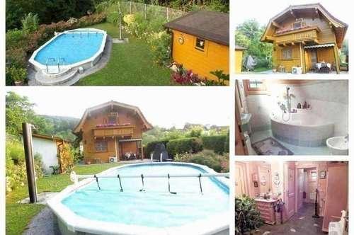 Randlage/Klosterneuburg - Schönes Holzriegelhaus in Landhausstil mit Pool, Teilkeller, Carport, und Gartengerätehaus