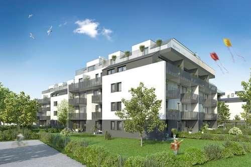 Erstbezug 3-Zimmer-Wohnung Neubau mit Küche inkl Geschirrspüler und 125,15 m² Garten und Loggia Außenfläche