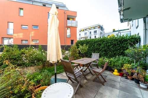 2 Zimmer Neubauwohnung mit großzügigem Garten, Terrasse + Garagenstellplatz
