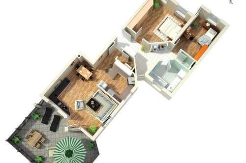 Gut eingeteilte 3-Zimmer-Gartenwohnung