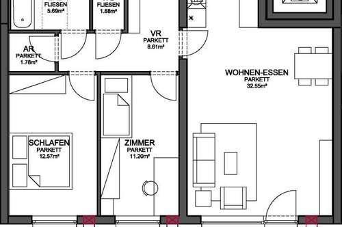 WOHNANLAGE HOLZHAUSEN - MIETKAUF Wohnung TOP 6 / 1.OG (166-61)