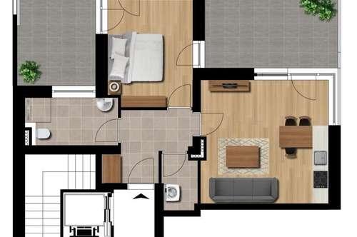 3 Terrassen - 2 Zimmer!!! Provisionsfrei!