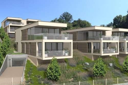 AUEN VILLEN am Wörthersee: Traumhafte Seeblick-Wohnung - 77 m² Wfl. + 19,90 m² Terrasse mit eigenem Seegrund und Pool sowie 2 TG - Bezug Sommer 2019!