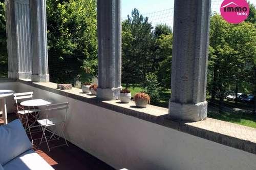 topsanierte 120 m² Wohnung inkl. großer Loggia, eigenem Gartenanteil in einer Villa der Villenkolonie, von Wald und Wiese umgeben und doch so zentral