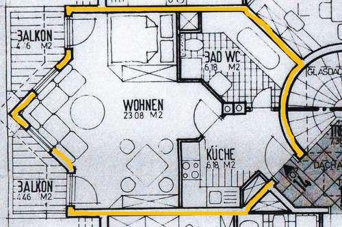 Wohnzimmer - Küche - Bad und 2 Balkone in Steinach - Dorfmitte