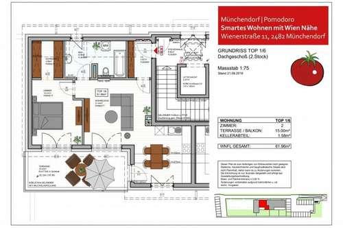 SMARTES WOHNEN im Wohnhausprojekt POMODORO, Münchendorf - 2-Zimmer-Dachterrassen-Wohntraum Top 1/6
