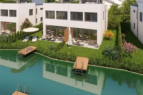 Exklusive Doppelhaushälfte mit eigenem Badesee TOP 47