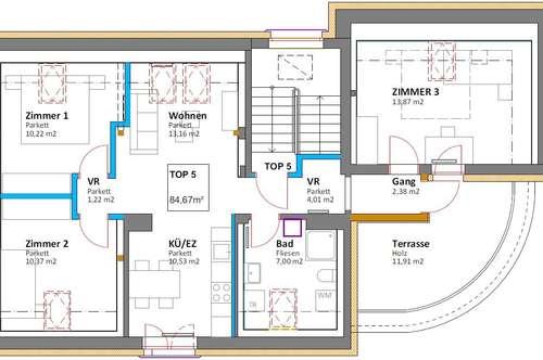 Dachgeschoß-Mietwohnung mit 5 Zimmern!