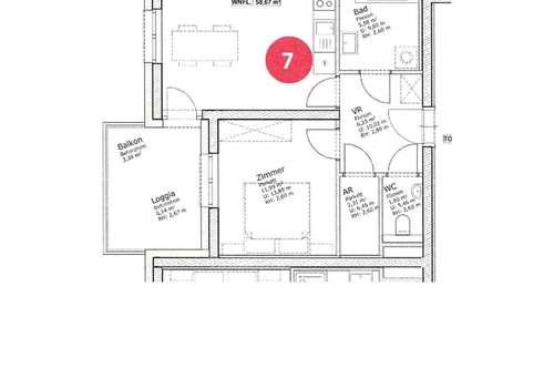 Wunderschöner Erstbezug, 2 Zimmer Wohnung 60 m² mit Balkon inkl. BK € 619, -